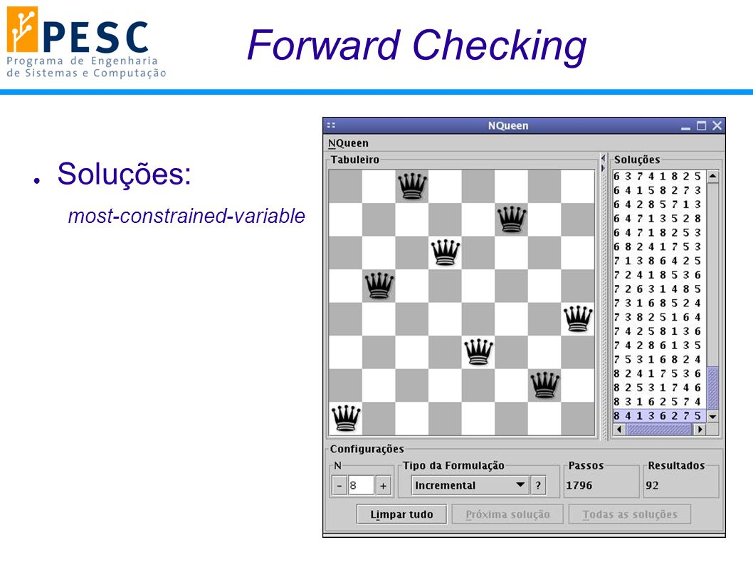 Forward Checking Soluções: most-constrained-variable