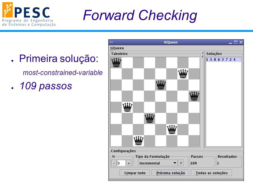 Forward Checking Primeira solução: 109 passos