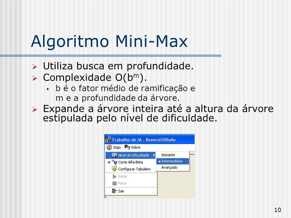Algoritmo Mini-Max Utiliza busca em profundidade. Complexidade O(bm).