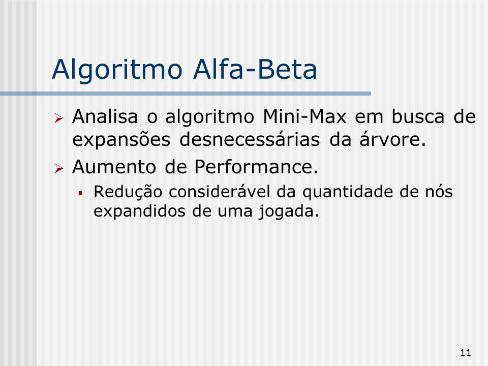 Algoritmo Alfa-Beta Analisa o algoritmo Mini-Max em busca de expansões desnecessárias da árvore. Aumento de Performance.