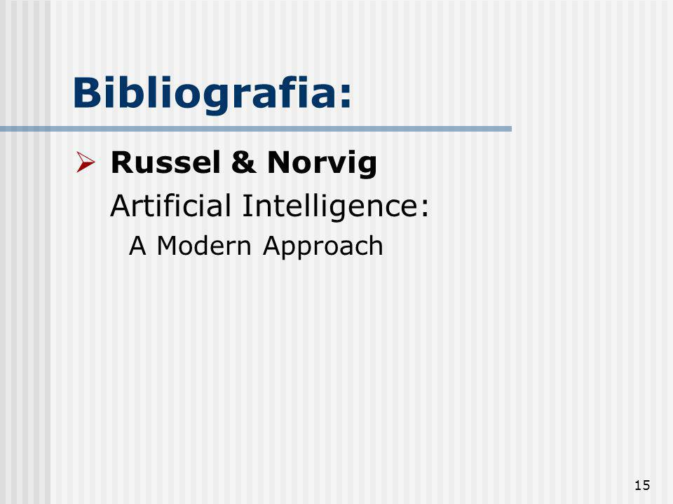 Bibliografia: Russel & Norvig Artificial Intelligence: