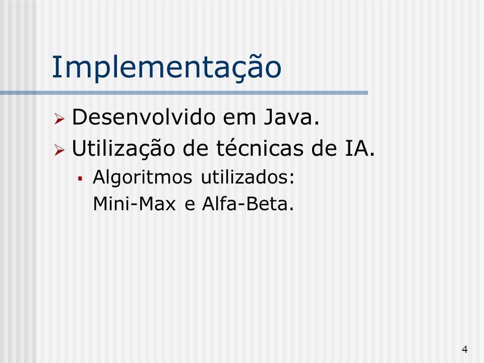 Implementação Desenvolvido em Java. Utilização de técnicas de IA.