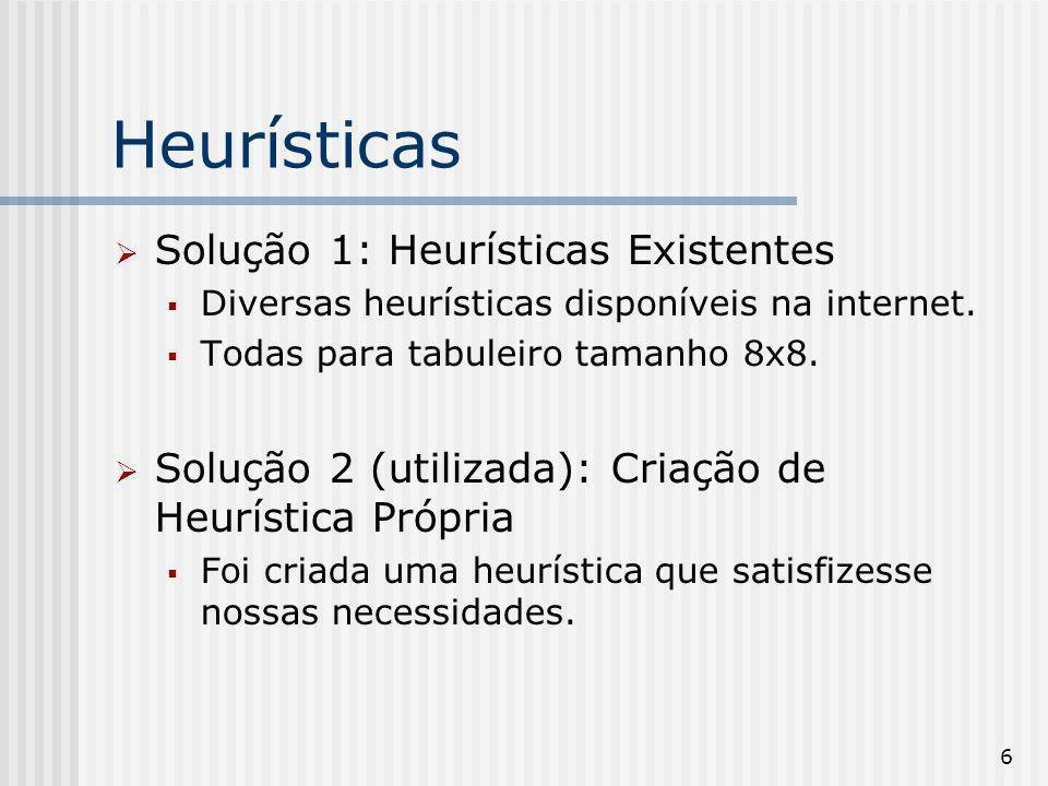 Heurísticas Solução 1: Heurísticas Existentes