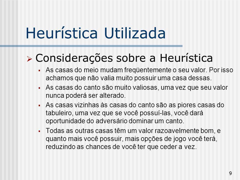 Heurística Utilizada Considerações sobre a Heurística