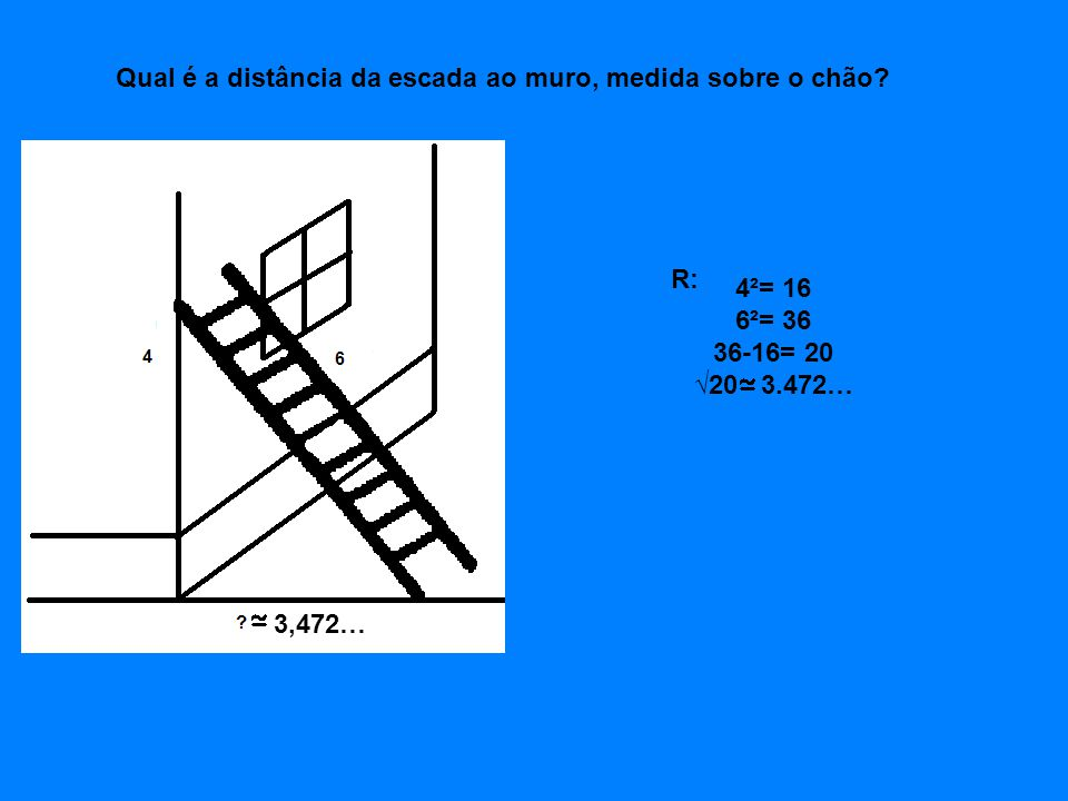 Qual é a distância da escada ao muro, medida sobre o chão