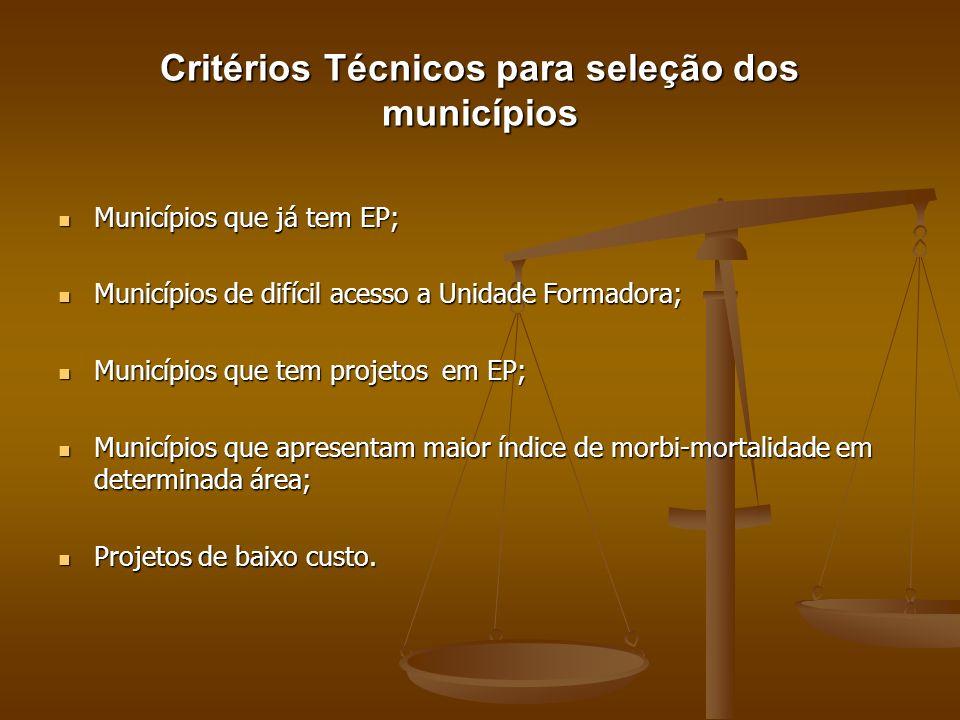 Critérios Técnicos para seleção dos municípios