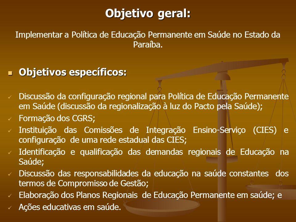 Objetivo geral: Implementar a Política de Educação Permanente em Saúde no Estado da Paraíba.