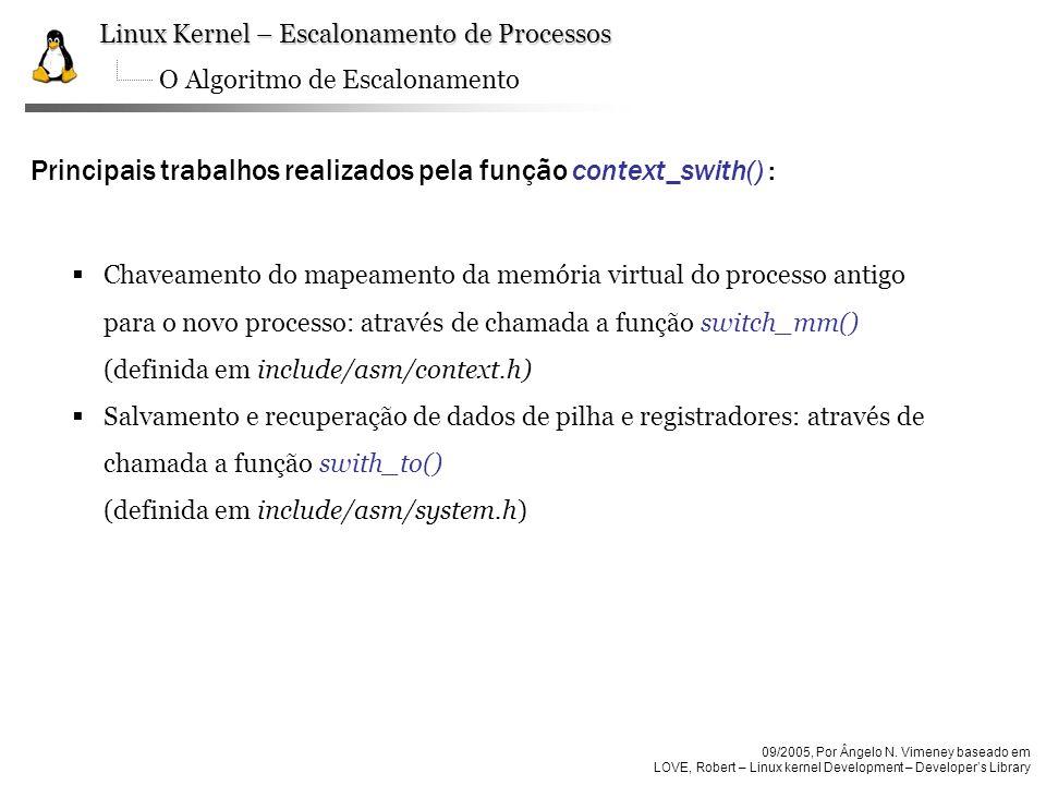 Principais trabalhos realizados pela função context_swith() :