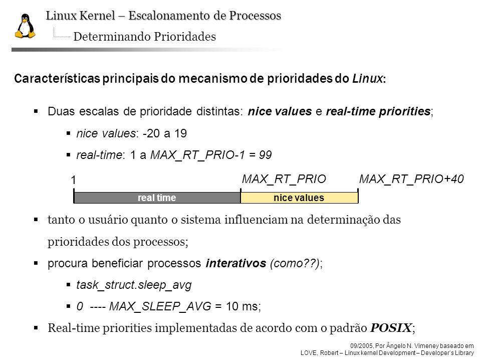 Características principais do mecanismo de prioridades do Linux: