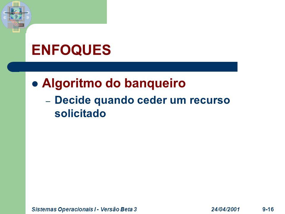 ENFOQUES Algoritmo do banqueiro