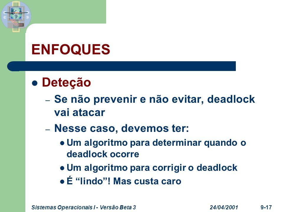 ENFOQUES Deteção Se não prevenir e não evitar, deadlock vai atacar