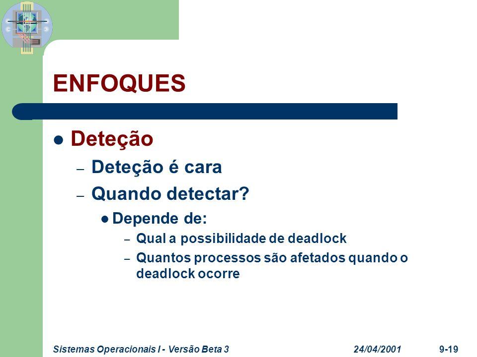ENFOQUES Deteção Deteção é cara Quando detectar Depende de: