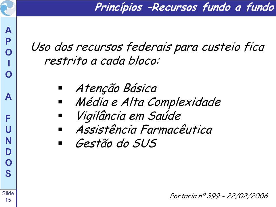 Uso dos recursos federais para custeio fica restrito a cada bloco: