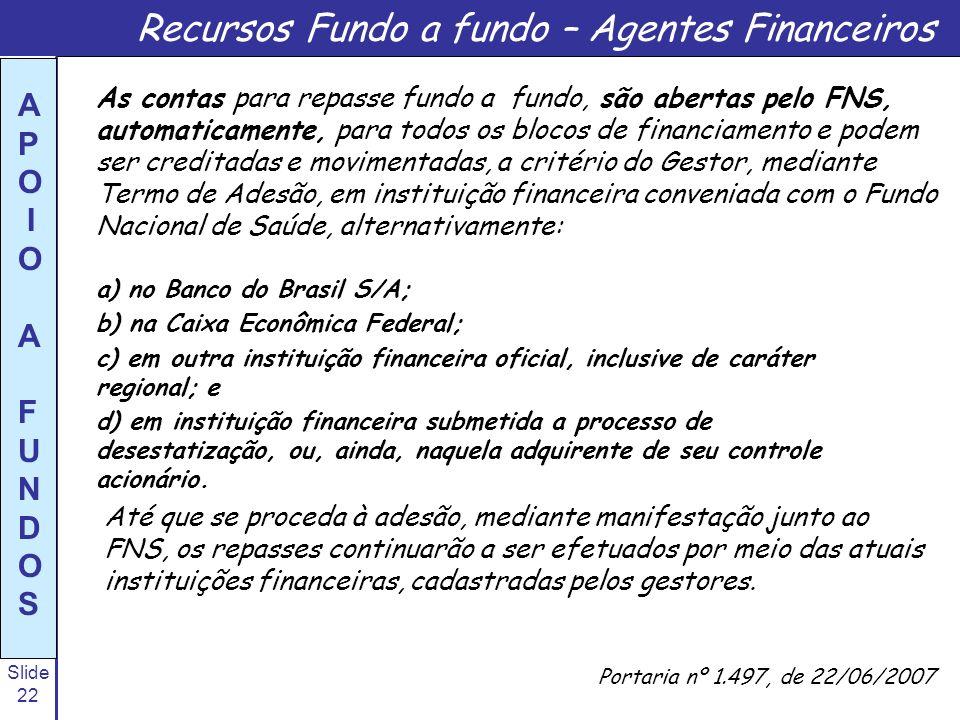 Recursos Fundo a fundo – Agentes Financeiros