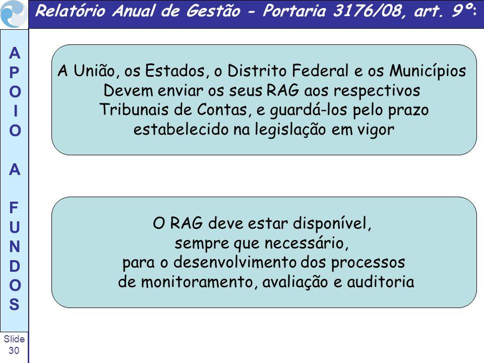 Relatório Anual de Gestão - Portaria 3176/08, art. 9º:
