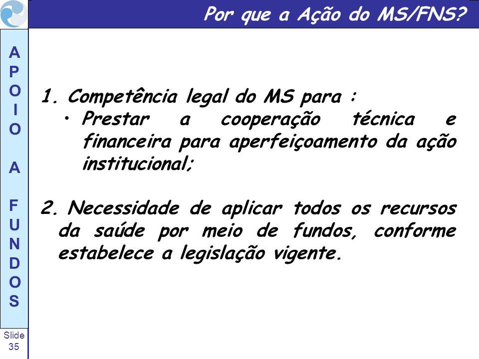 Por que a Ação do MS/FNS Competência legal do MS para : Prestar a cooperação técnica e financeira para aperfeiçoamento da ação institucional;