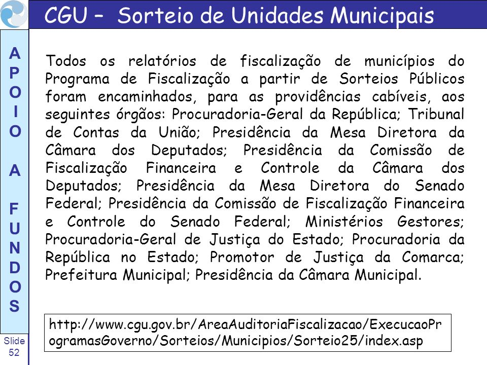 CGU – Sorteio de Unidades Municipais