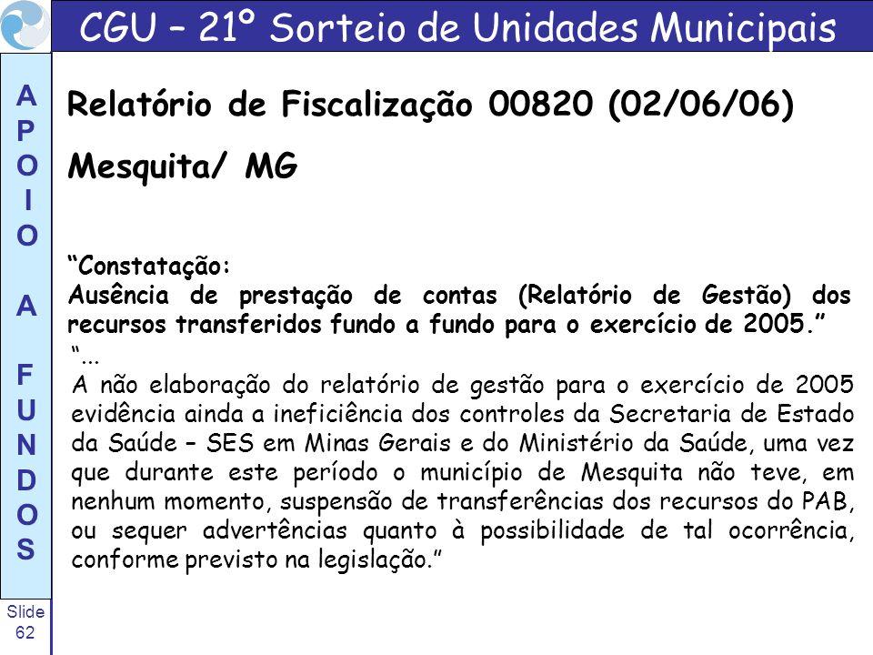 CGU – 21º Sorteio de Unidades Municipais