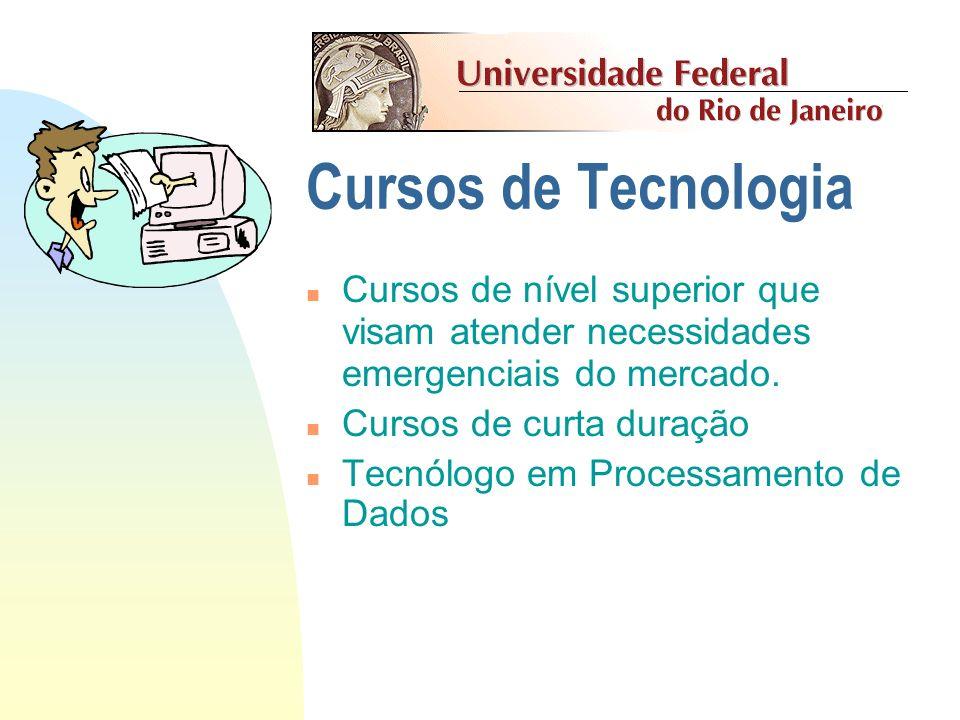 Cursos de Tecnologia Cursos de nível superior que visam atender necessidades emergenciais do mercado.