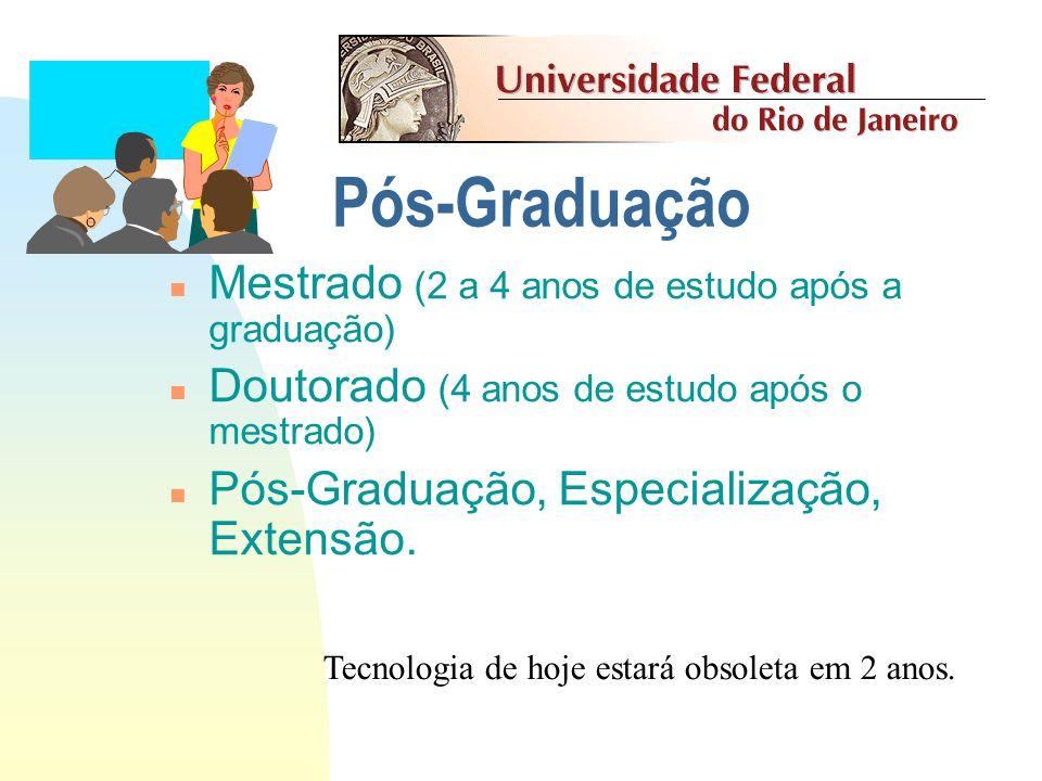 Pós-Graduação Mestrado (2 a 4 anos de estudo após a graduação)