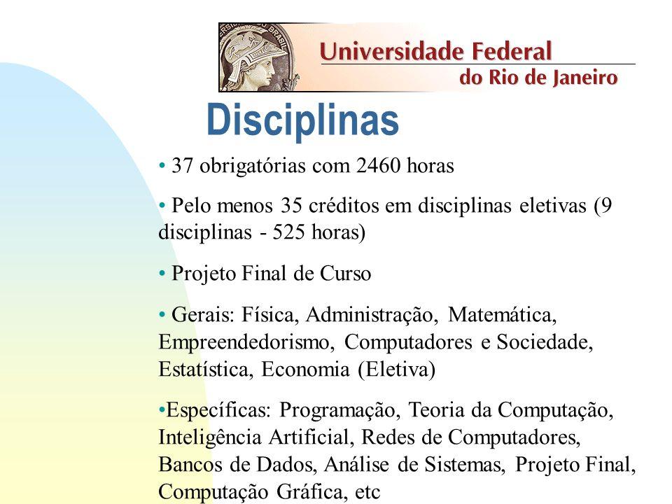 Disciplinas 37 obrigatórias com 2460 horas