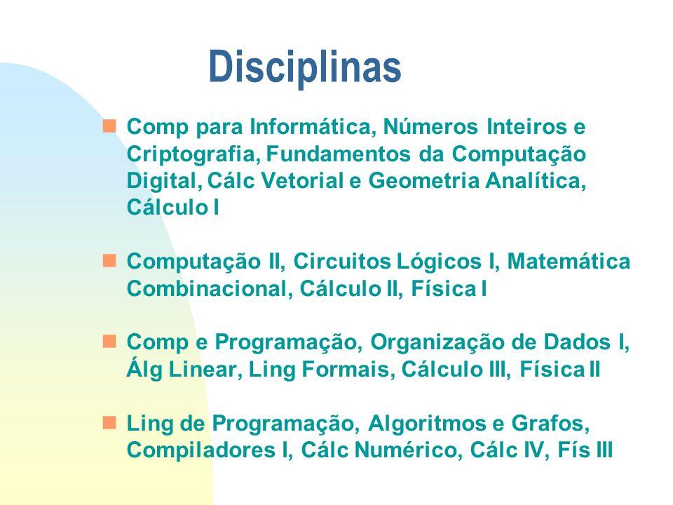 Disciplinas Comp para Informática, Números Inteiros e Criptografia, Fundamentos da Computação Digital, Cálc Vetorial e Geometria Analítica, Cálculo I.