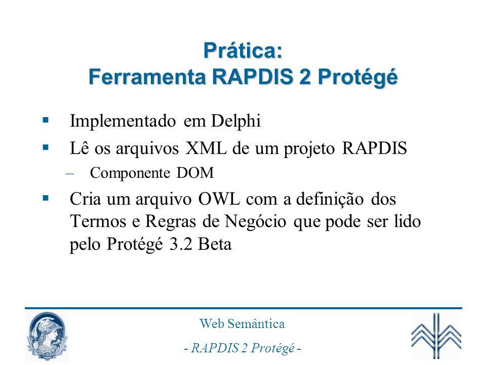 Prática: Ferramenta RAPDIS 2 Protégé
