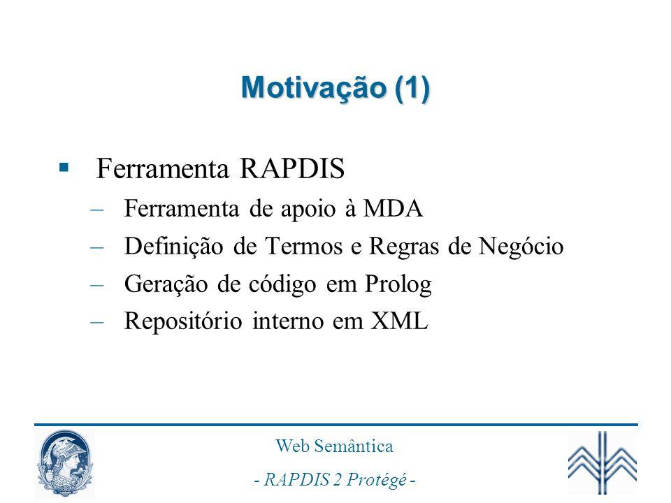 Motivação (1) Ferramenta RAPDIS Ferramenta de apoio à MDA