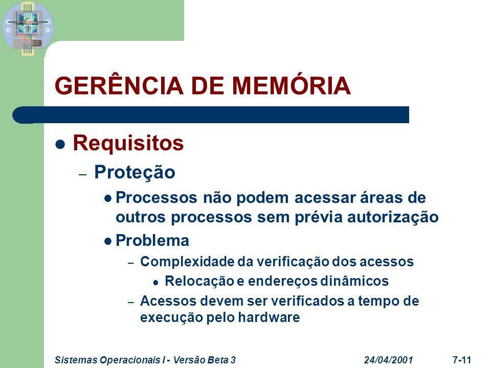 GERÊNCIA DE MEMÓRIA Requisitos Proteção