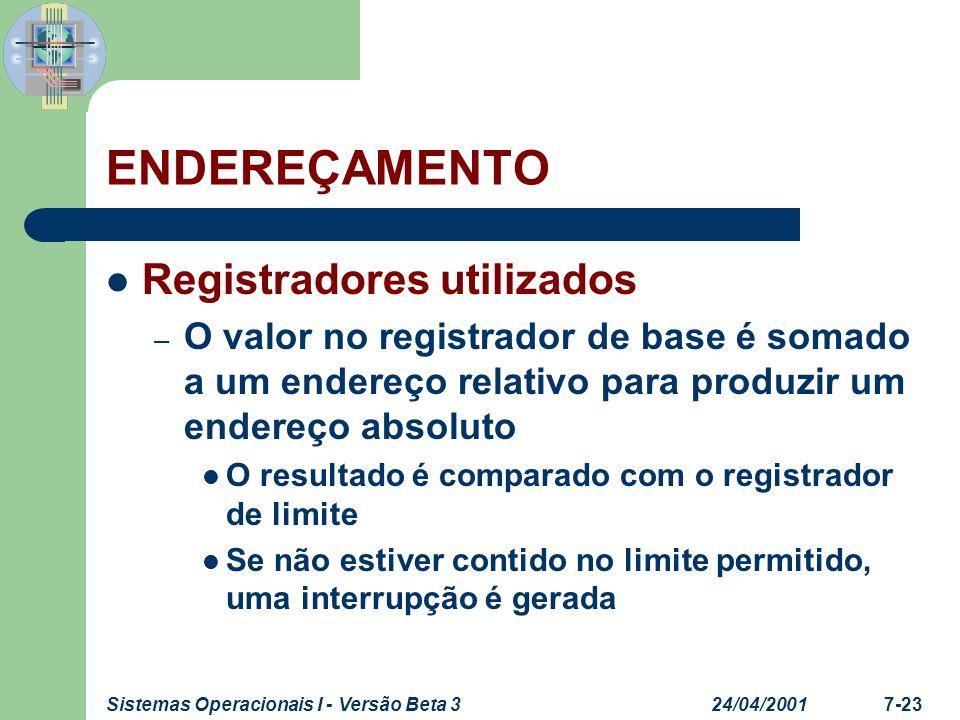 ENDEREÇAMENTO Registradores utilizados