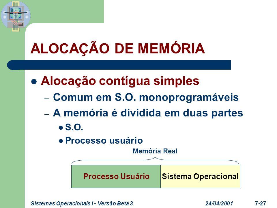 ALOCAÇÃO DE MEMÓRIA Alocação contígua simples