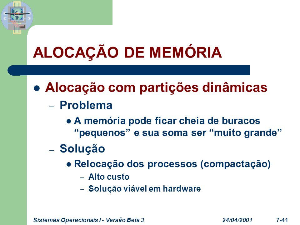 ALOCAÇÃO DE MEMÓRIA Alocação com partições dinâmicas Problema Solução
