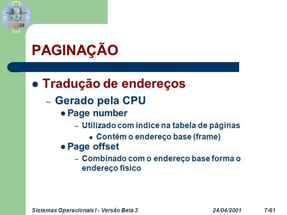 PAGINAÇÃO Tradução de endereços Gerado pela CPU Page number
