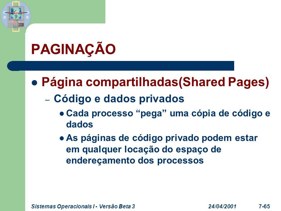 PAGINAÇÃO Página compartilhadas(Shared Pages) Código e dados privados
