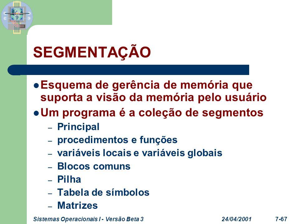 SEGMENTAÇÃO Esquema de gerência de memória que suporta a visão da memória pelo usuário. Um programa é a coleção de segmentos.