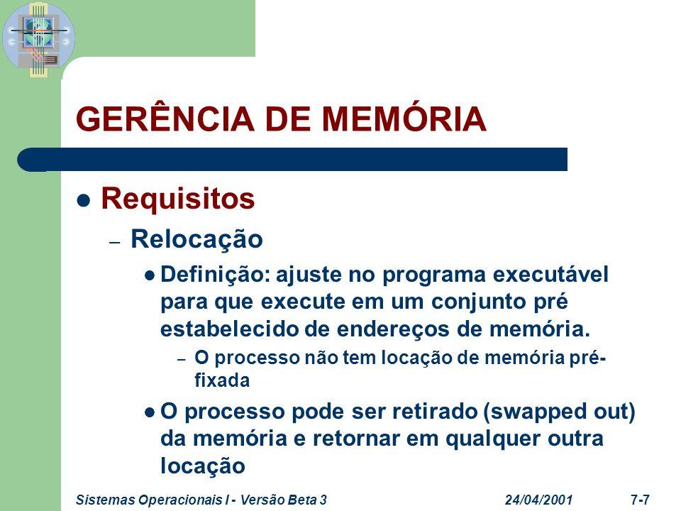 GERÊNCIA DE MEMÓRIA Requisitos Relocação