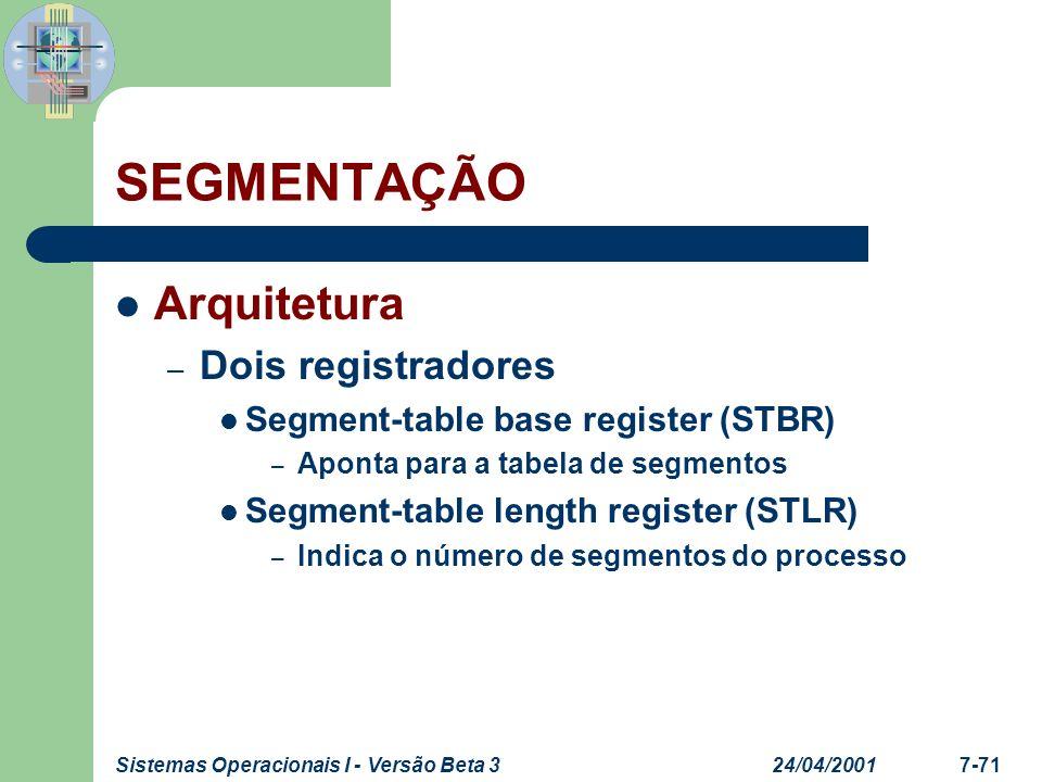 SEGMENTAÇÃO Arquitetura Dois registradores