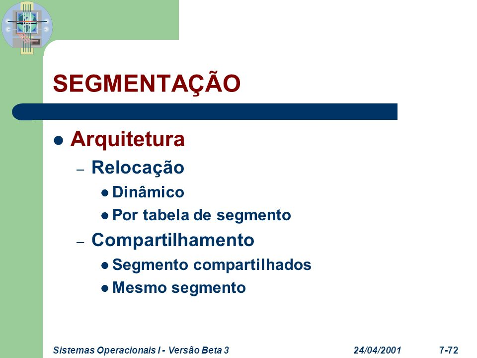 SEGMENTAÇÃO Arquitetura Relocação Compartilhamento Dinâmico