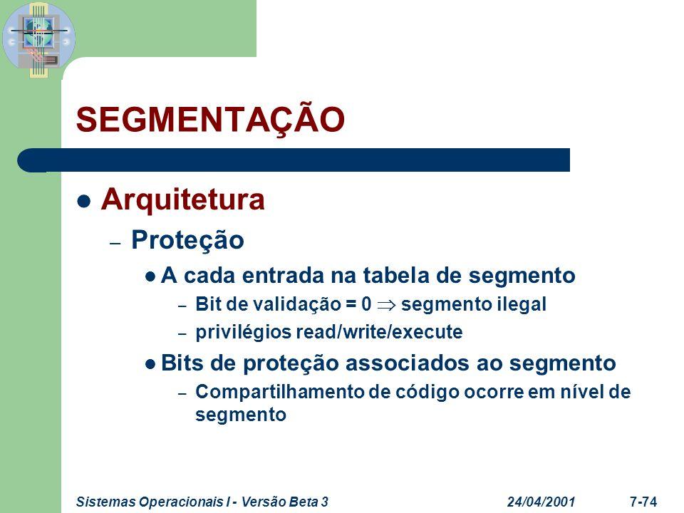 SEGMENTAÇÃO Arquitetura Proteção A cada entrada na tabela de segmento