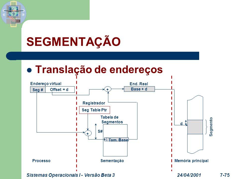 SEGMENTAÇÃO Translação de endereços