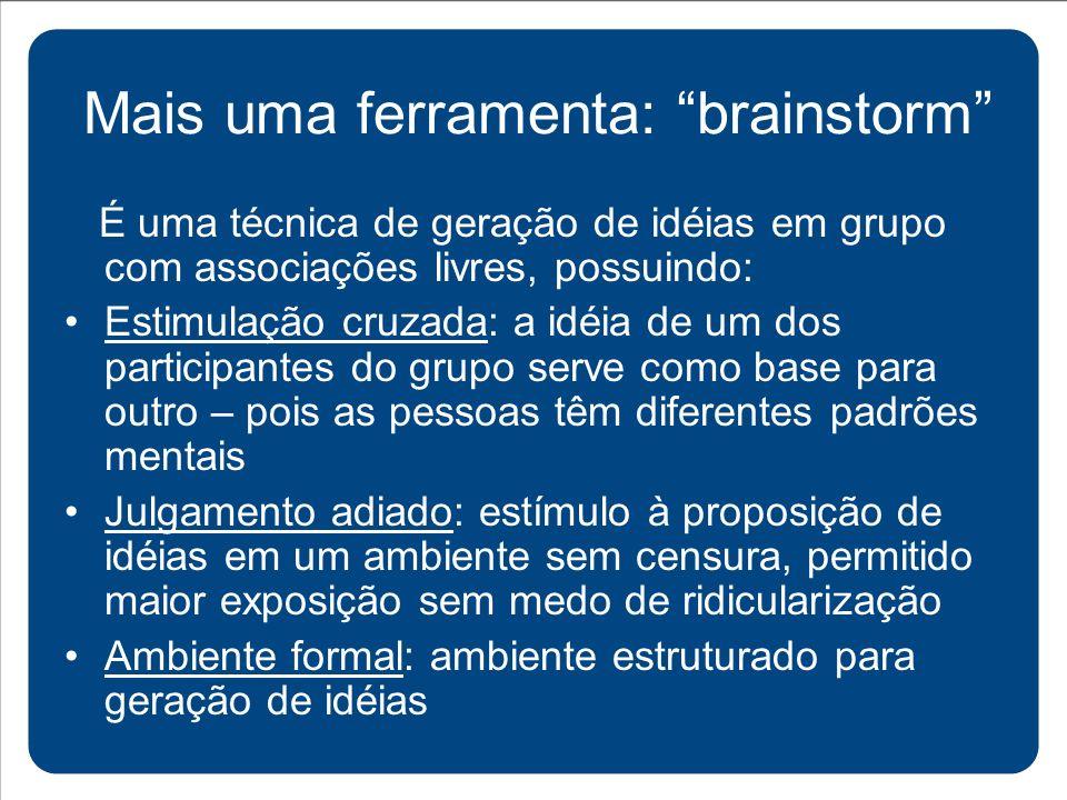 Mais uma ferramenta: brainstorm
