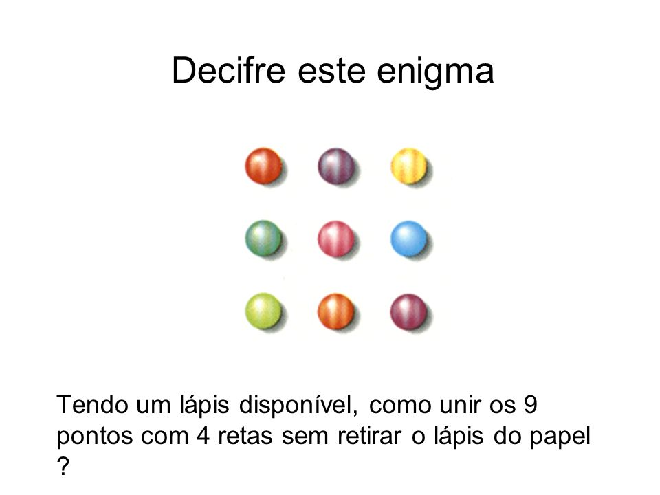 Decifre este enigma Tendo um lápis disponível, como unir os 9 pontos com 4 retas sem retirar o lápis do papel