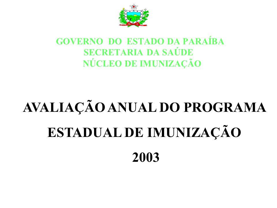 GOVERNO DO ESTADO DA PARAÍBA SECRETARIA DA SAÚDE NÚCLEO DE IMUNIZAÇÃO