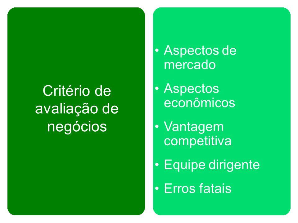 Critério de avaliação de negócios