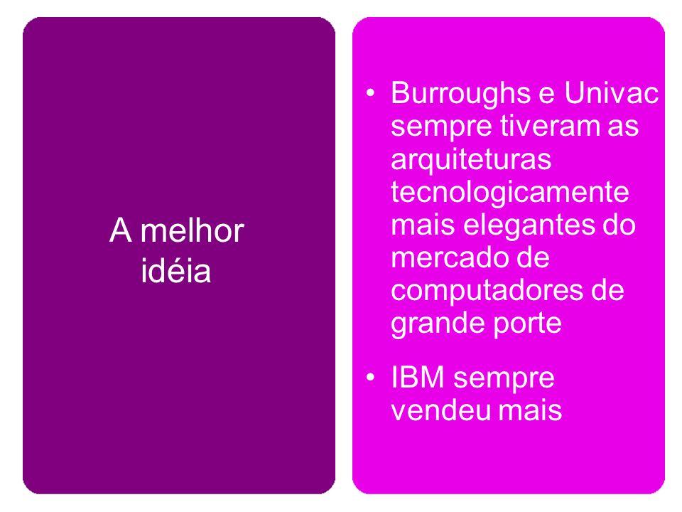 A melhor idéia Burroughs e Univac sempre tiveram as arquiteturas tecnologicamente mais elegantes do mercado de computadores de grande porte.