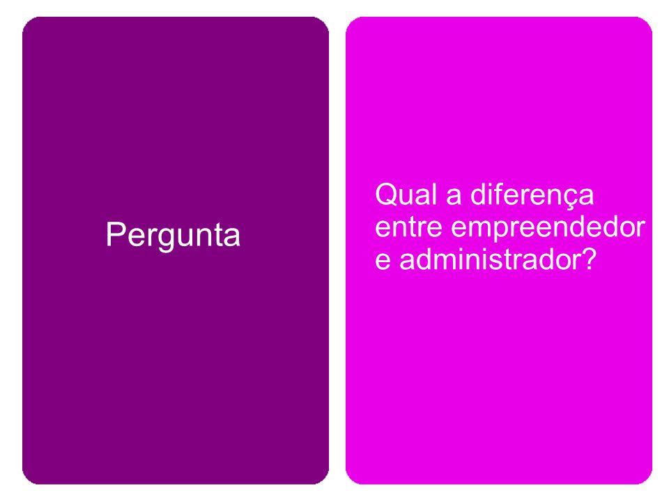 Pergunta Qual a diferença entre empreendedor e administrador