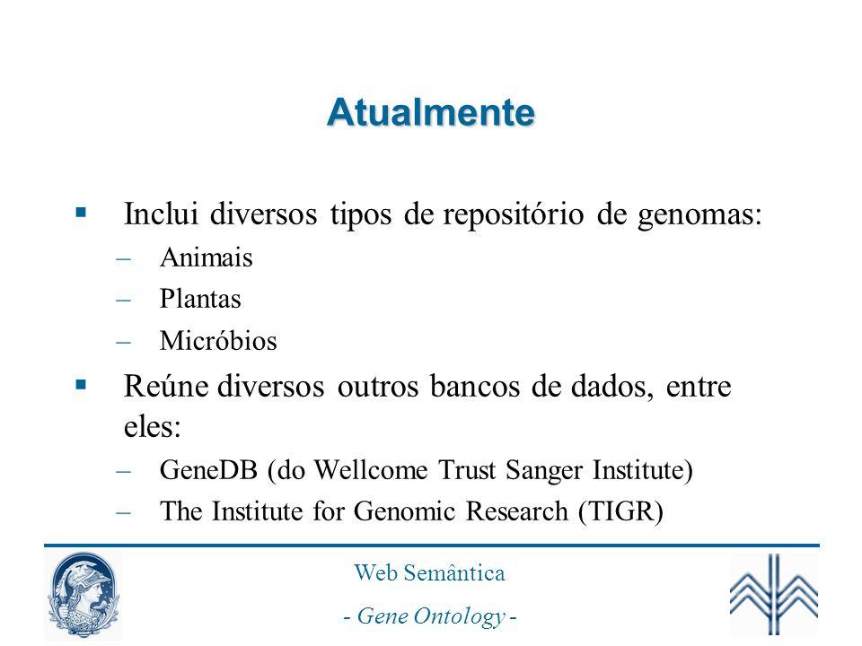 Atualmente Inclui diversos tipos de repositório de genomas: