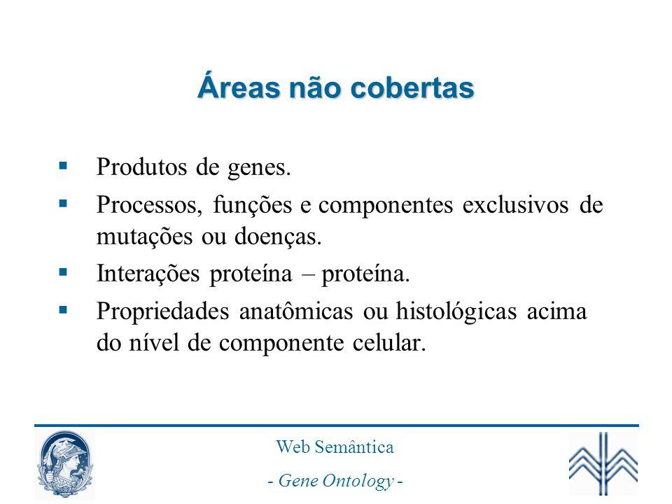 Áreas não cobertas Produtos de genes.