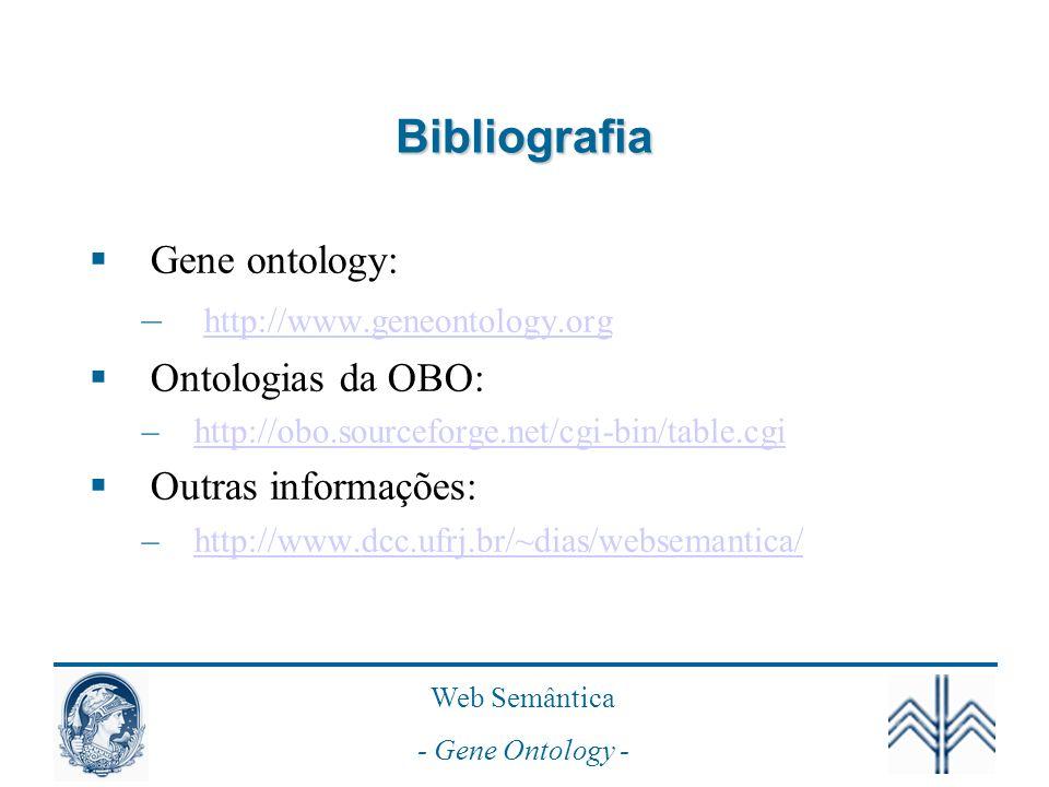 Bibliografia Gene ontology: http://www.geneontology.org