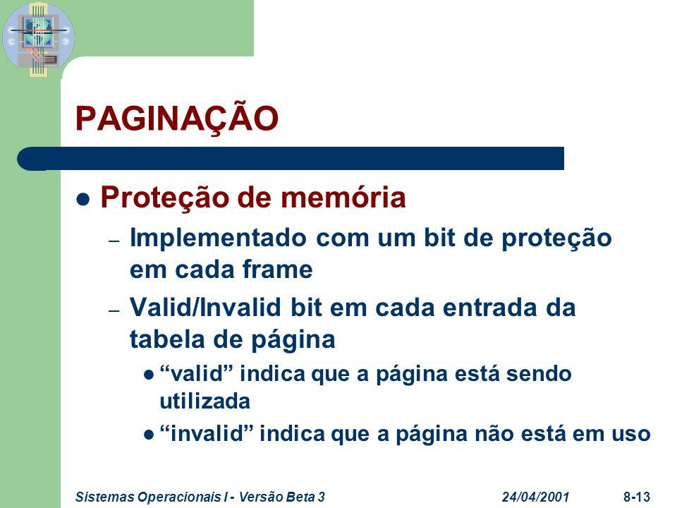 PAGINAÇÃO Proteção de memória